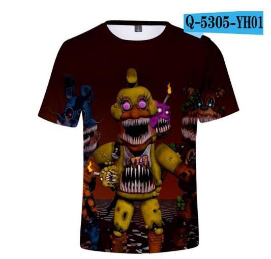 2019 Summer Children Clothes Cartoon T-Shirts Five Nights At Freddy/'s Boys Girls