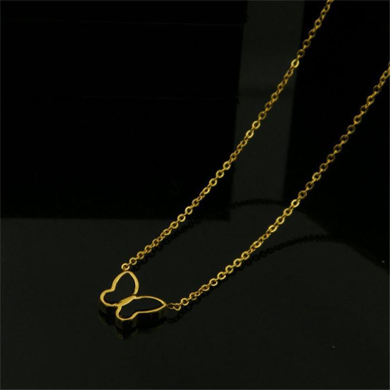 chaînes d'or colliers pendentifs femmes chaîne sur la coquille collier papillon cou en acier inoxydable femme simple mode de sautoirs