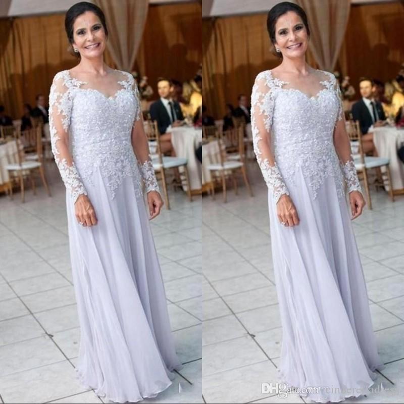Plaj Şifon Uzun Kollu Anne Düğün için Elbiseler Dantel Aplikler Sequins anne Gelin Elbise Kadınlar Örgün BA9248 Giymek