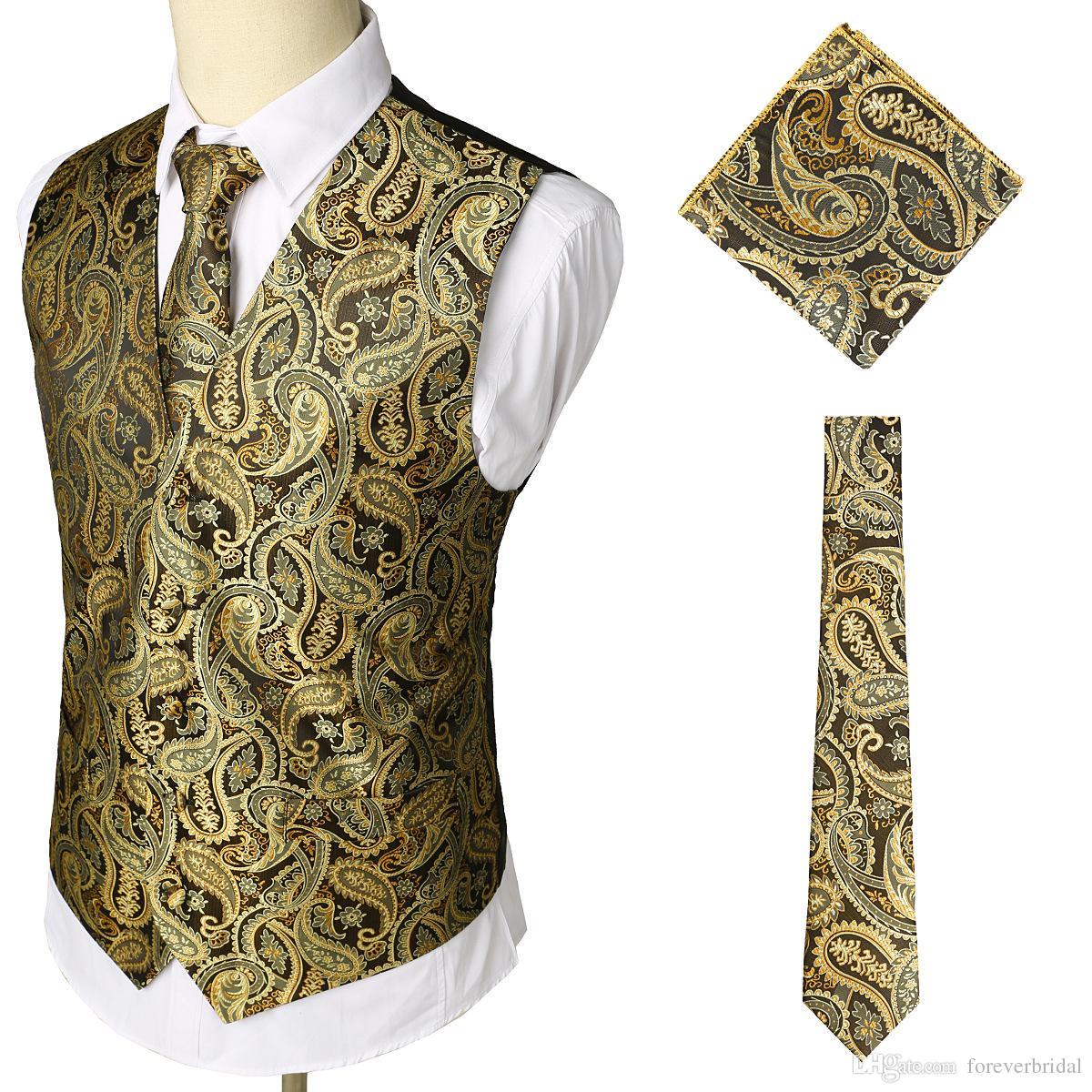 2019 Mens Designer Wedding Vest Slim Fit Floral Pattern Groom Clothes Formal Men Waistcoat Suits In Stock(Vest+Neck Ties+Square Scarf)