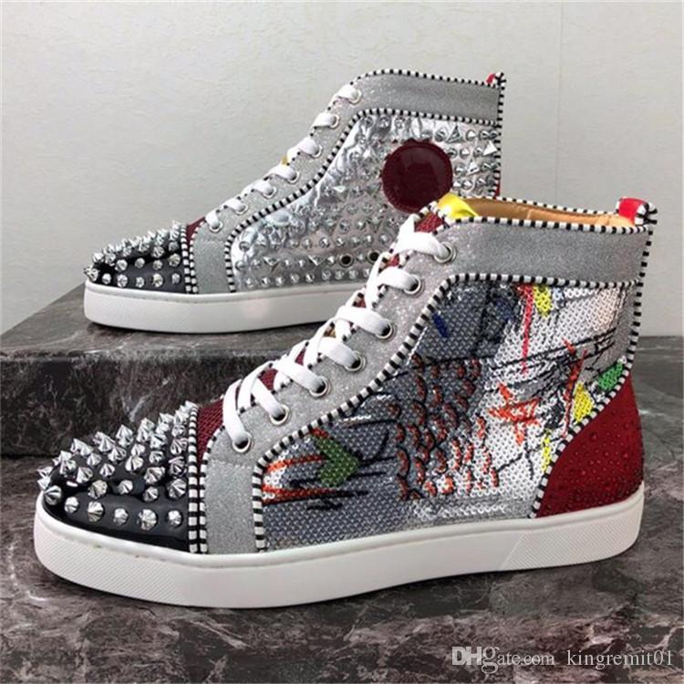 2019 Мужчины Женщины Повседневная обувь дизайнер Красное дно шипованные Шипы мода Insider кроссовки черный красный белый кожа высокие сапоги size34-48