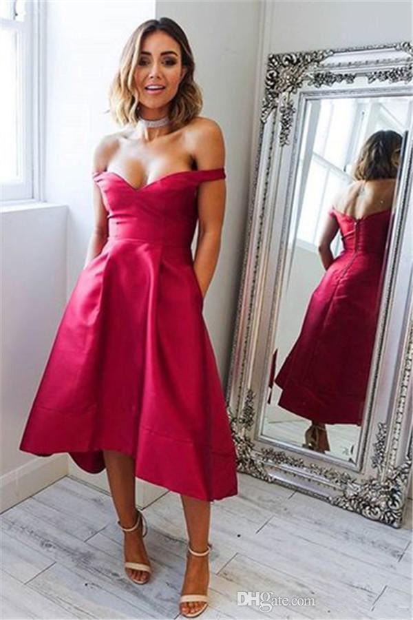 2019 Sexy Ciao-basso breve Prom Dresses Off the Shoulder Semplice abito da sera economico Wed Guest abiti da damigella d'onore abiti da ballo su misura