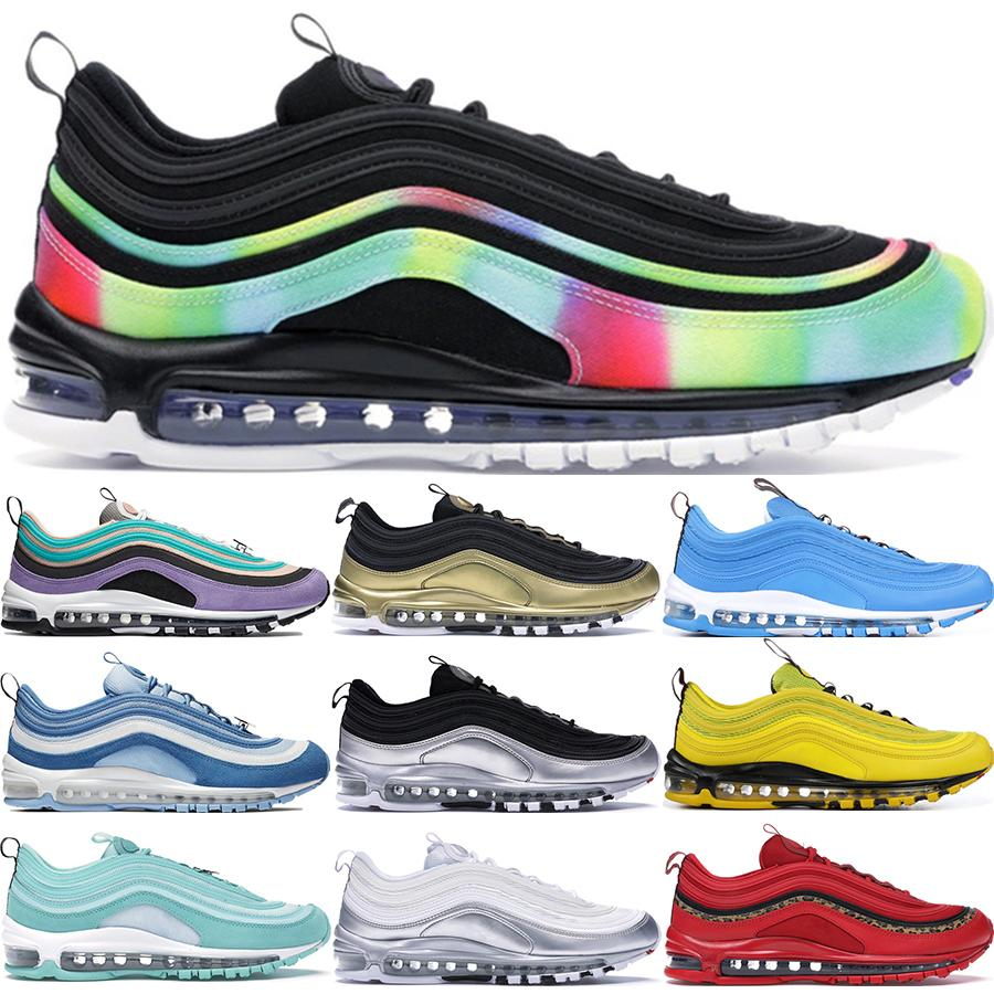 2019 صبغ التعادل الرجال الاحذية 97S أسود لامع الذهب ساوث بيتش PRM الأصفر الثلاثي الأبيض مزين حذاء رياضة المرأة الولايات المتحدة 36-45