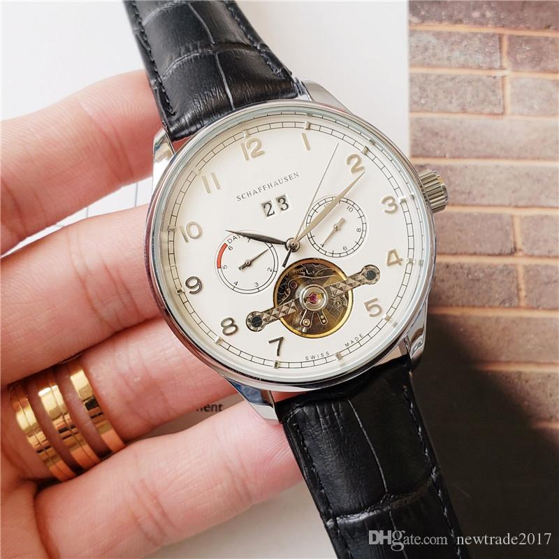 عالية الجودة رجل الساعات توربيون التلقائية حركة الطلب الصغيرة ساعات العمل daydate للرجال جلدية حزام مصمم ساعة montre دي لوكس