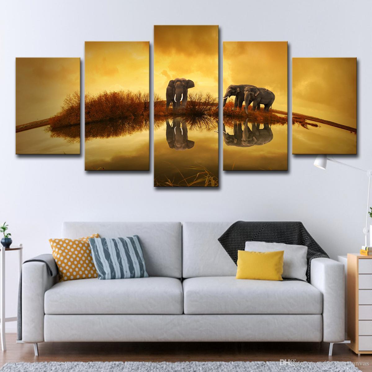 Chihie Moderne Mur Art Toile Photos pour Salon 5 Pi/èces Bord de Mer Coucher du Soleil Peinture D/écor /À La Maison Modulaire Animal Dauphin Poster 20x35cmx2 20x45cmx2 20x55cmx1 Pas de Cadre