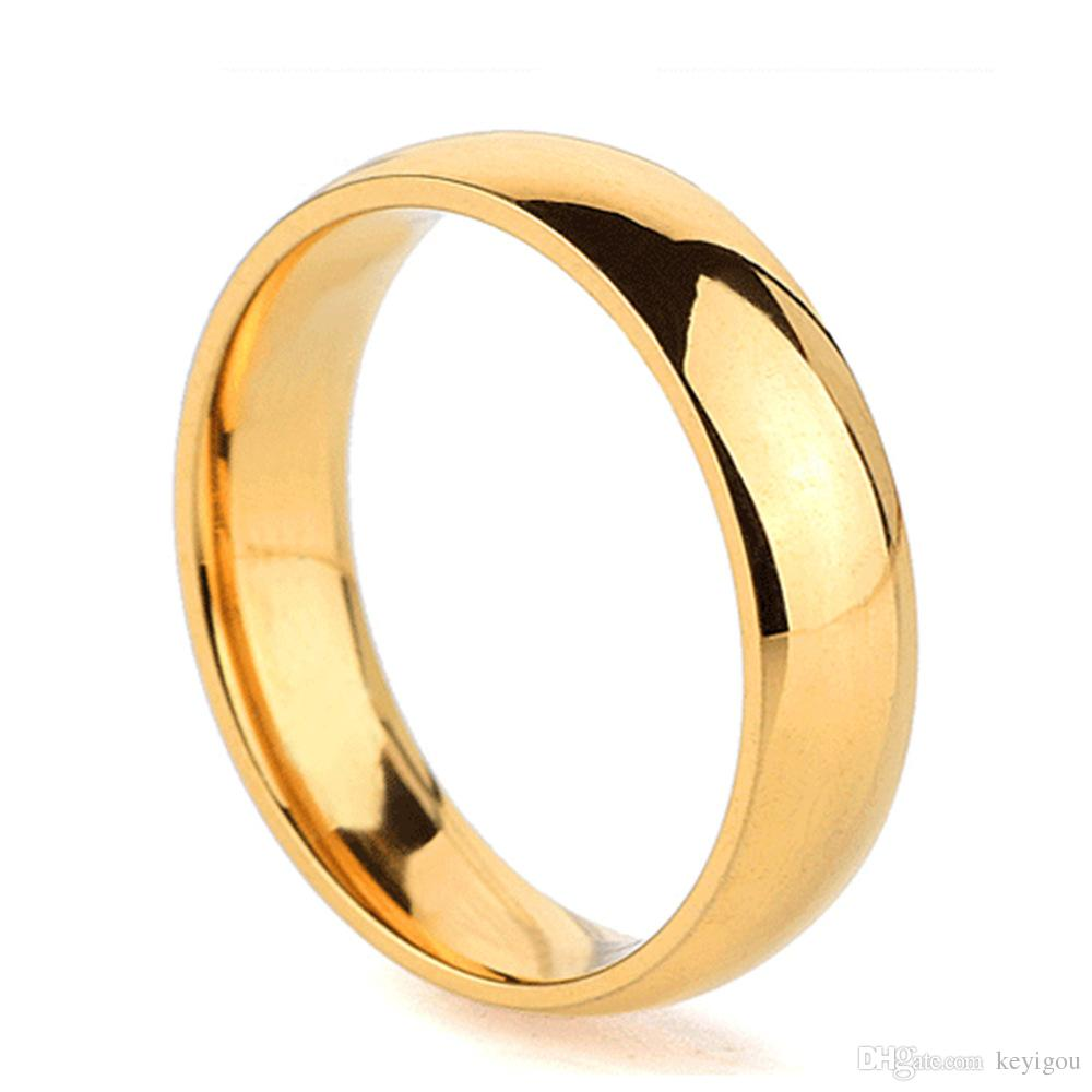 2020 High Quality 5mm Wholesale Simple Ring Fashion Gold Ring Mens And Womens Exclusive Couple Wedding Ring From Keyigou 1 33 Dhgate Com