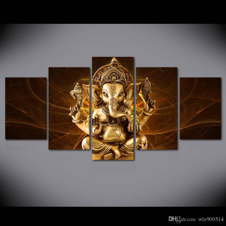 Abstract Background India Elephant God Gold Buddha Canvas Painting Wall Picture For Living Room Art Decoration Modern Printing
