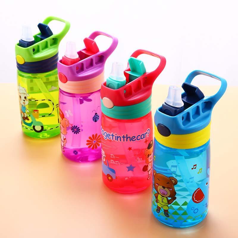 4 Colors Baby Bottle Infant Newborn Cup Children Learn Feeding Drinking Bottle Kids Straw Juice Water Bottles 430ml
