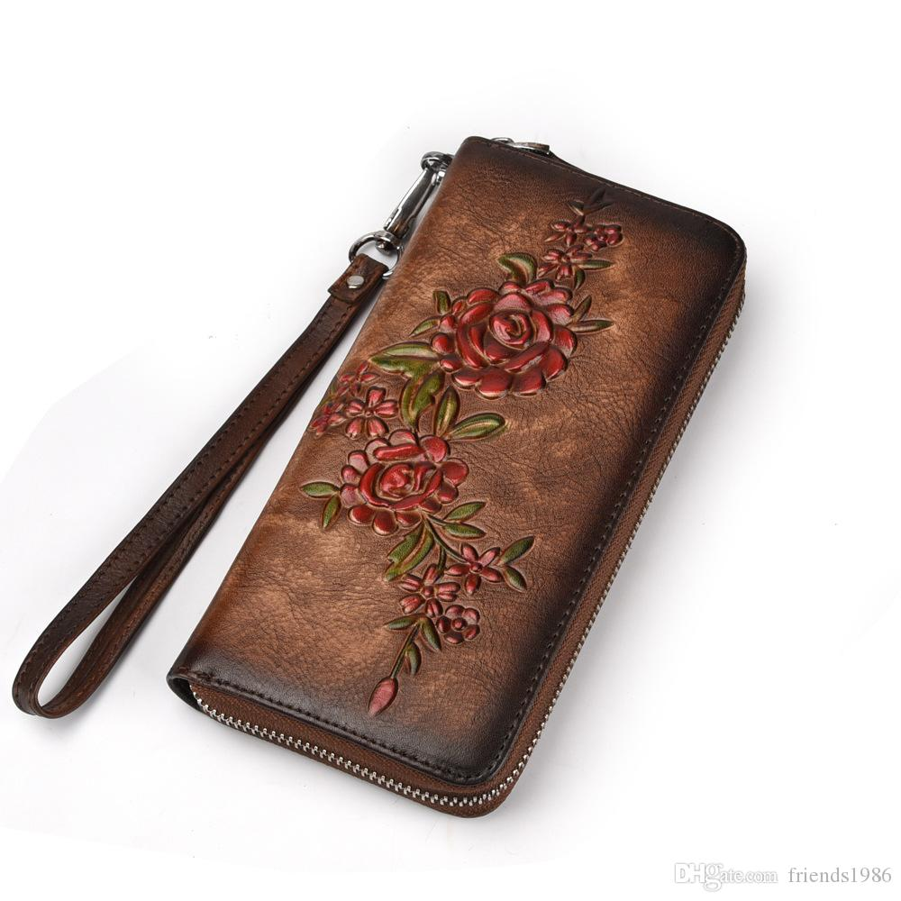 Fashion Women Wallet Genuine Leather Luxury Long Clutch Handy Bag Printing Floral Female Card Purse Money Clips