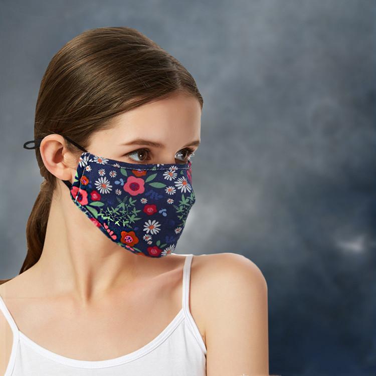 필터 가사 디자이너 MaskT2I5935없이 꽃 무늬 마스크 통기성 접이식 입 마스크 재사용 선 스크린 마스크 얼굴 마스크