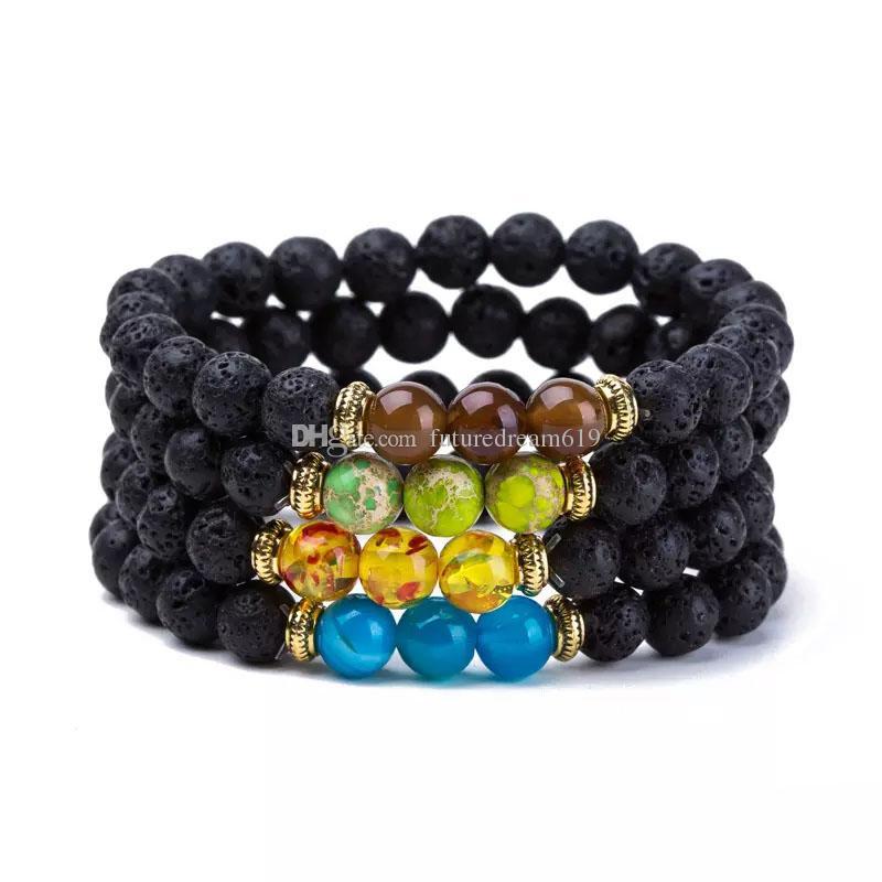 Nuovo arrivo Lava perle in pietra naturale bracciali in rilievo fili del braccialetto del braccialetto gioielli di moda