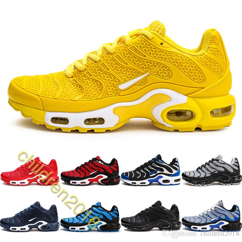 2019 Cushion Plus Tn Running Shoes For Men Luxury KPU Drop Plastic Surface University Yellow Black Blue Outdoor Sneakers Big Size 40-4