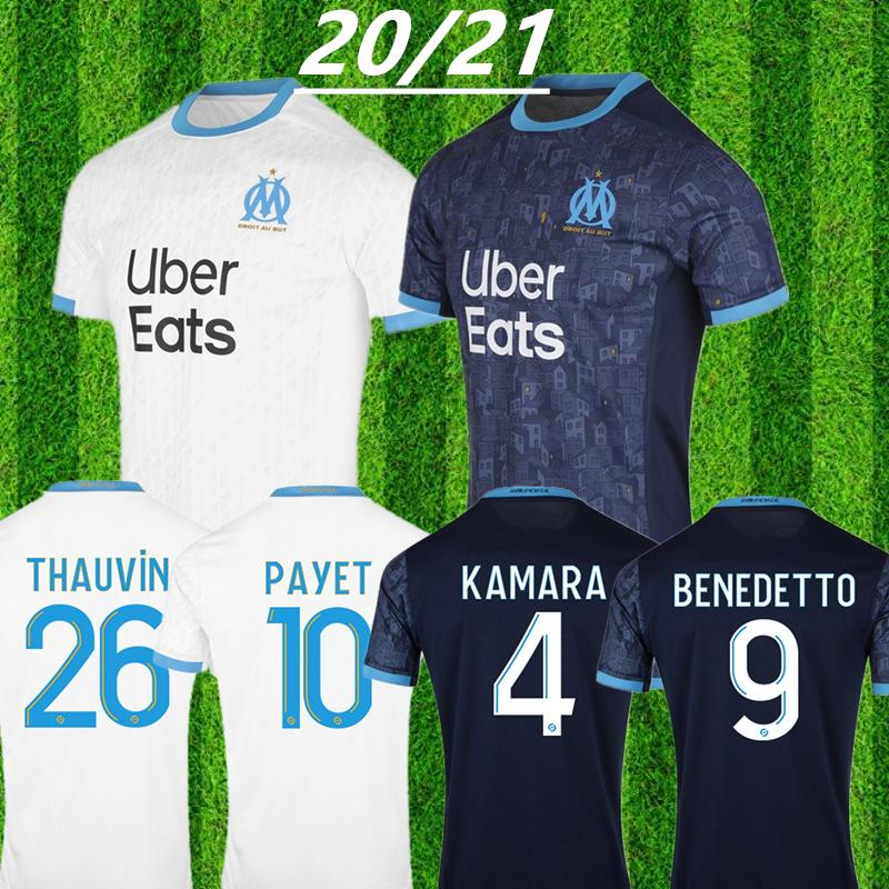 2020 Thailand Maillot OM Olympique de Marseille Soccer jersey 2021 Marseille Maillot de foot BENEDETTO PAYET L GUSTAVO 20 21 THAUVIN shirts