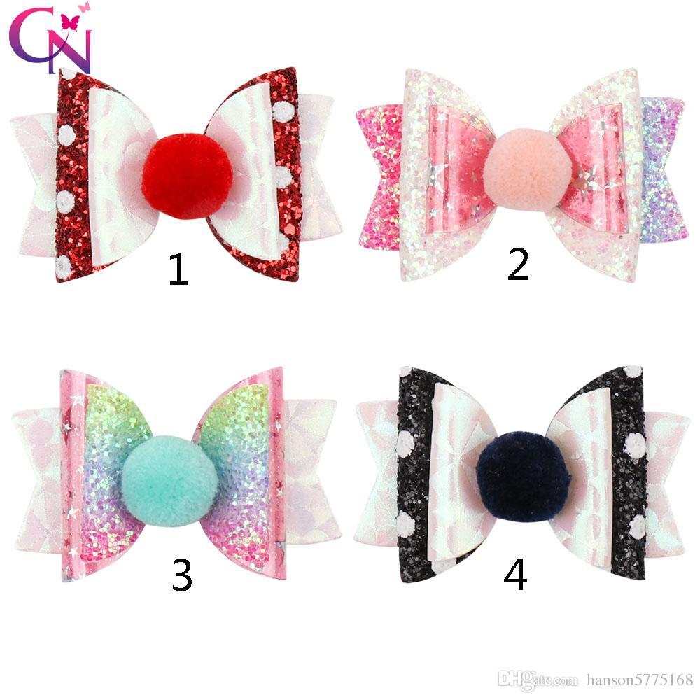 """Sparkling GLITTER HAIR clips BOWS GIRLS HAIR CLIPS GLITTER Hair Bows  3/"""" Pink"""
