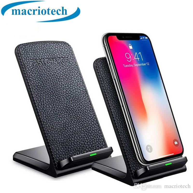 Leather QI Stander Wireless Charger Fast Wireless Smart Mobile Phone Charger for IPhone X 8p 8 Samsung S9 s8 s7 E385