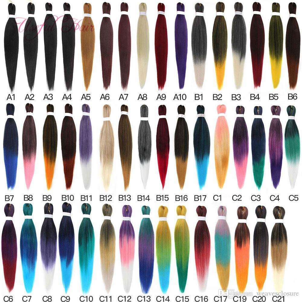 """YAKI EASY JUMBO TRAIDS OMBRE DE TRESSION DE TRESSION PRE-STIPDÉS Livraison GRATUITE Synthétique Crochet Tradition Extension de cheveux 20 """"26"""" Eau chaude"""