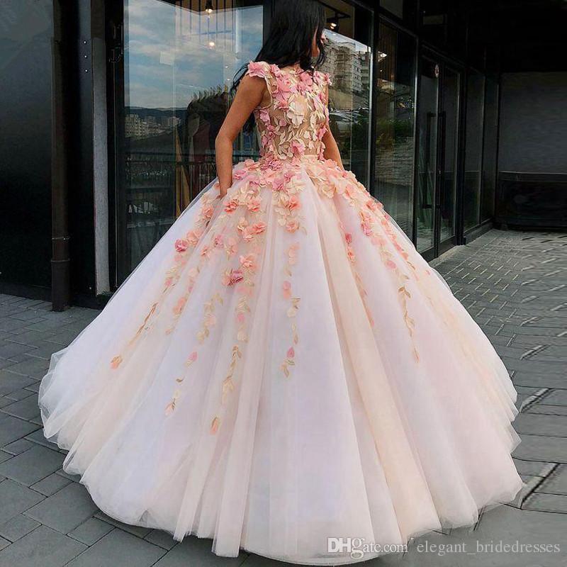 2019 Amazing Ball Gown Formal Dress 3D Floral Elegant Prom Gowns Gala Jurken Floor Length Cap Sleeve Long Evening Gowns abendkleider