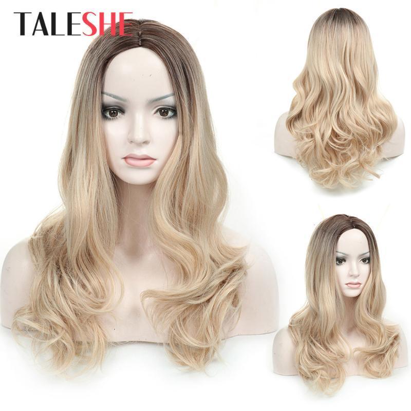 24 Zoll Ombre Blonde wellenförmige Perücken synthetische Perücke für Weiß Schwarz Frauen mittleren Teil natürlichen Cosplay-Fälschungs-Haar
