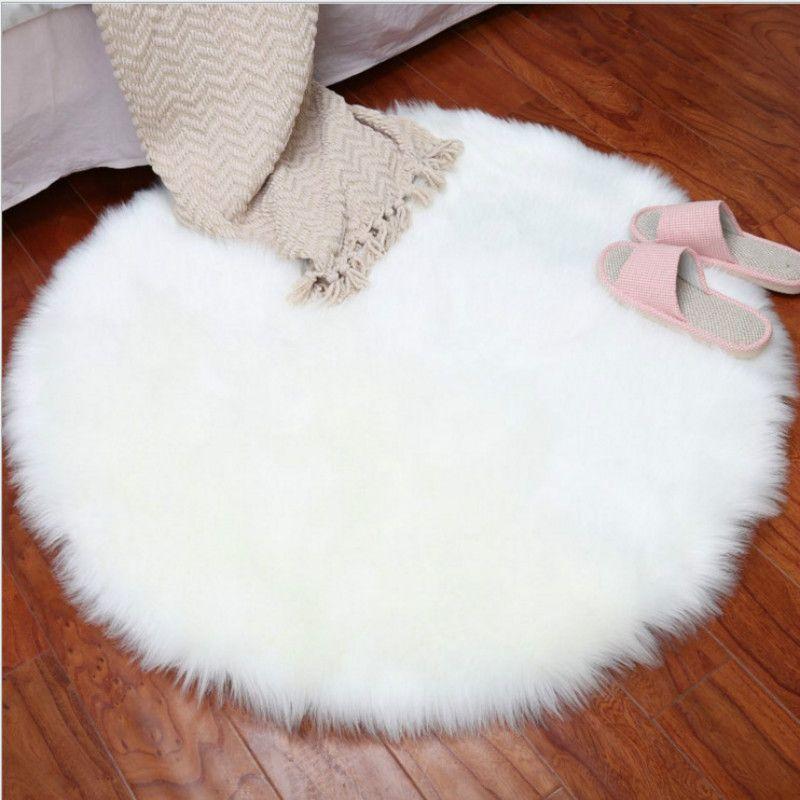 Ronda de imitación de la cubierta de la silla del asiento del cojín amortiguador del sofá suave alfombra de pelo largo Hairy Péndulo Mat mullidas alfombras dormitorio Manta