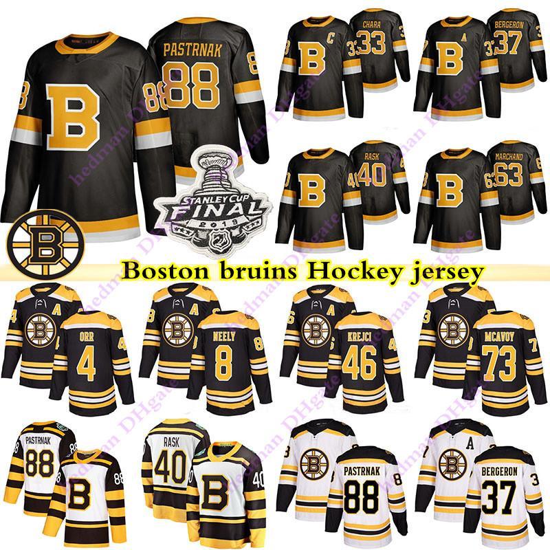 Boston Bruins Jerseys 88 David Pastrnak 63 Brad Marchand 33 Zdeno Chara 37 Patrice Bergeron 4 Bobby Orr 40 Tukka Rask Hockey Jersey