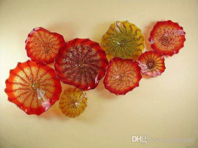En Kaliteli Turuncu Plaka Lambaları Sanat Ev Dekorasyon Için Modern Fikstür Murano Çiçek Cam Asılı Plakalar Duvar Sanatı