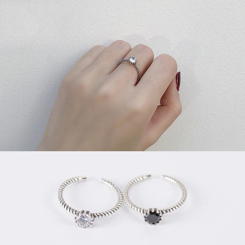 Simple Crystal Inlay Sterling S925 Sliver Ring Elegant Female Slim Adjustable Opening Size Rhinestone Rings Finger Decoration Jewelry