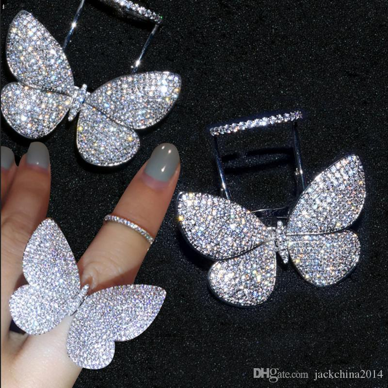 Choucong Sparkling Luxury Jewelry Internet celebrity 925 Sterling Silver Pave Full White Sapphire CZ Diamond Butterfly wings Women Ring Gift