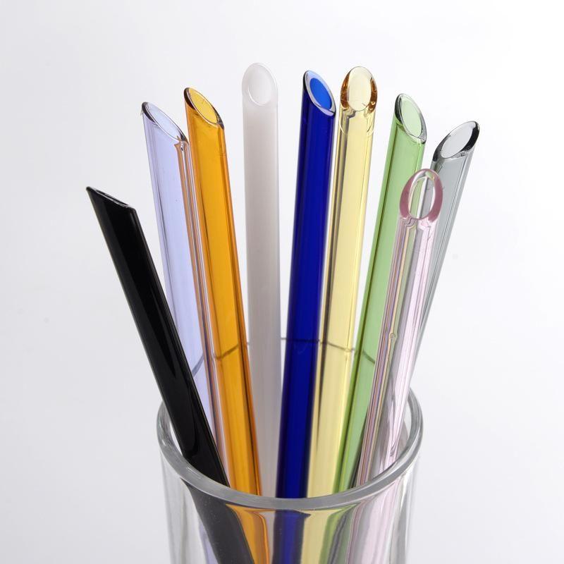 Многоразовые боросиликатные цветные стеклянные соломинки молоко чистое пьют наклонные прямые соломинки 20 см * 8 мм эко коктейль соломинки пить Rtuau
