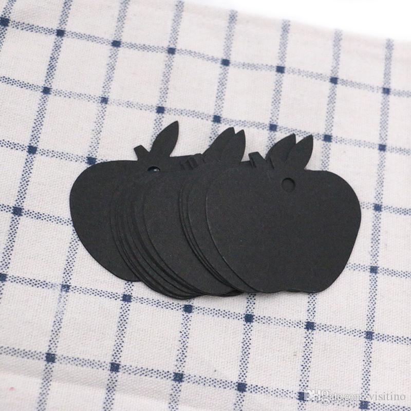 Em forma de maçã em branco jóias Display Card Tags colar embalagem Tag Tag de cartão de jóias por atacado Acessório (branco, preto, marrom)