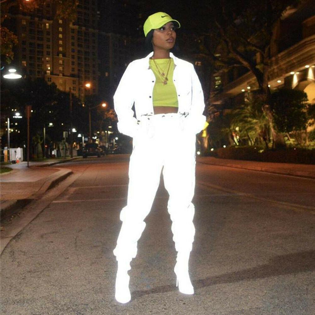 diseñador 19SS Mujeres chándal cremallera reflectante de luz chaquetas y pantalones de dos piezas Set o mono Clubwear Festival de ropa más del tamaño