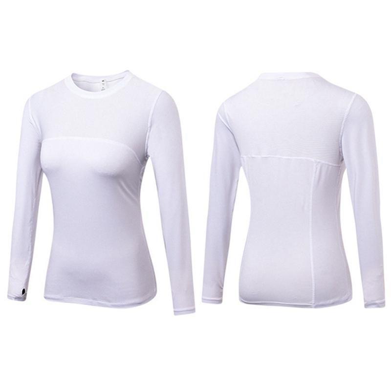 Длинные рукава Йога футболки Женщины Gym Compression колготки Спортивная одежда Фитнес Quick Dry Running Tops Body Shaper футболках