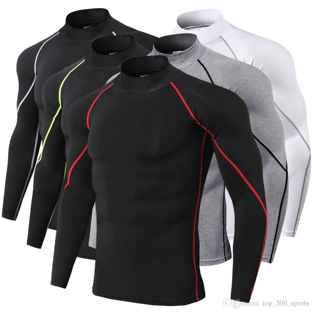 새로운 긴 소매 스포츠 셔츠 남자 빠른 건조한 남자의 Rue 티셔츠 Stitoyoo Gymy Clothing Fitness Top Mens Rashgard 축구 유니폼