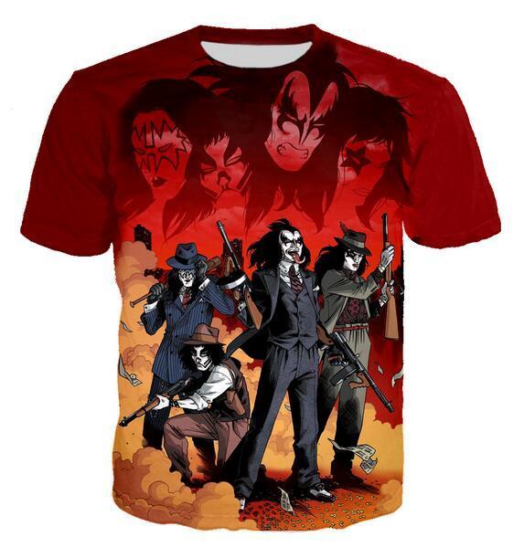Neueste Art und Weise der Männer / Womans Kuss Band-Sommer-Art-T-Shirts 3D-lässig T-Shirt Tops Plus Size BB0174 Drucke