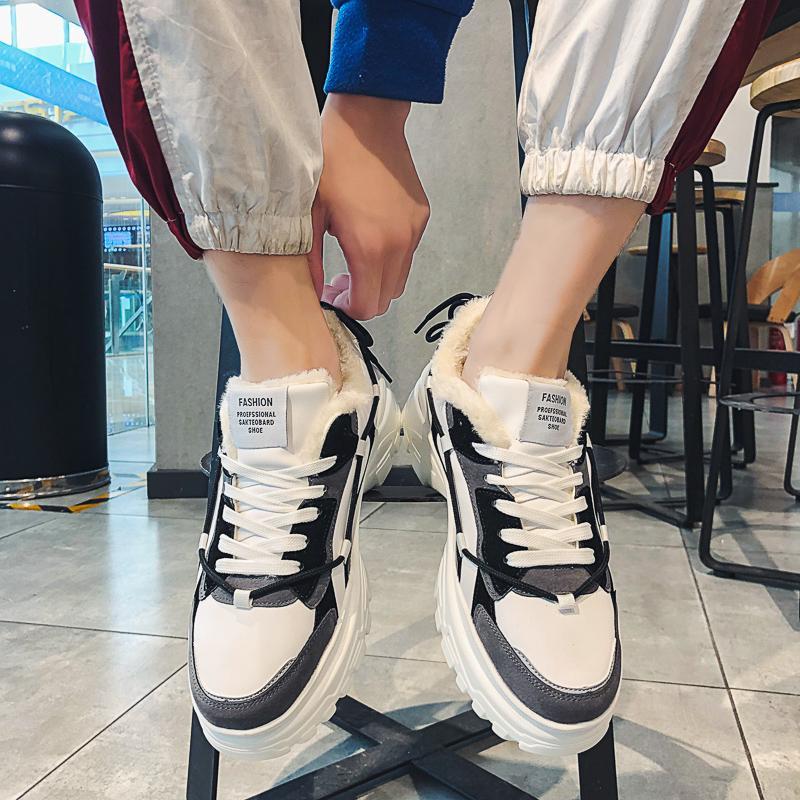 Running Shoes Homens de Moda de qualidade Inverno Homens confortáveis Keep Warm Fur Botas Outdoor Sneakers por Homens Lazer Caminhar Calçado