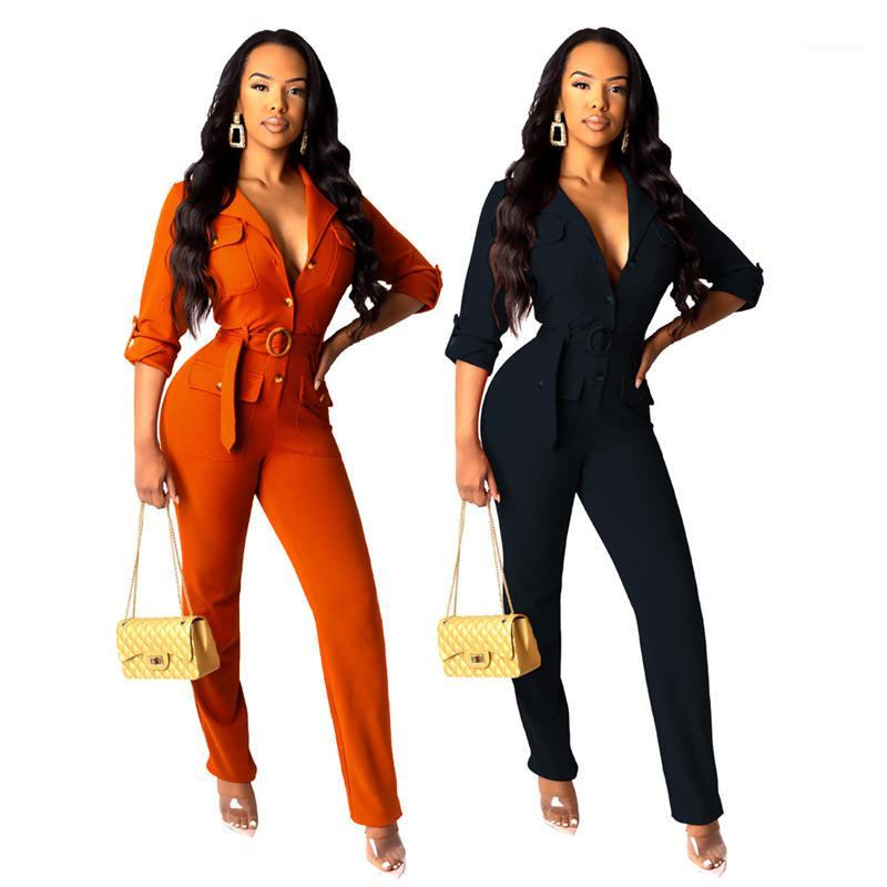 Holidays Beach Shorts Sexy Solid Color Women Jumpsuit Fashion Designer Long Sleeve V Neck Casual Rompers