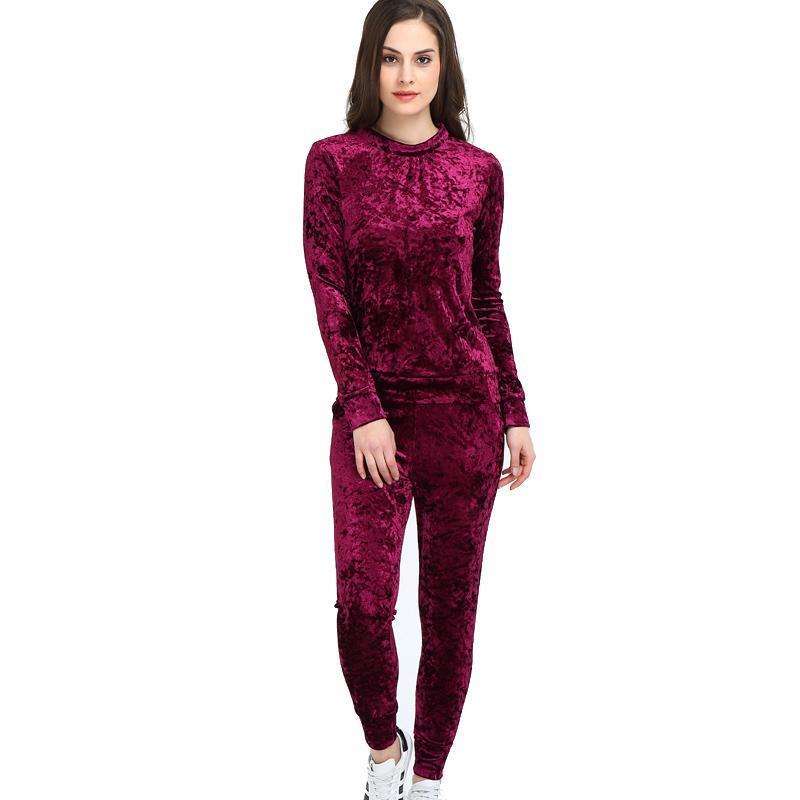 Frauen Zweiteiler Weibliche Winter-Anzug Samt Hoodies Top + Pants Damen Langarm Outfit Femme Sportanzüge Art und Weise gedruckte