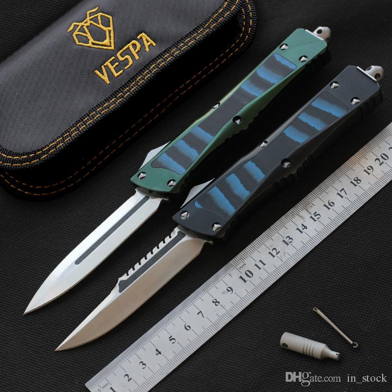 VESPA knives out the front knife D2 blade Aluminum+TC4+G10 Handle hunting knife pocket survival knives camping Tactical EDC Tools