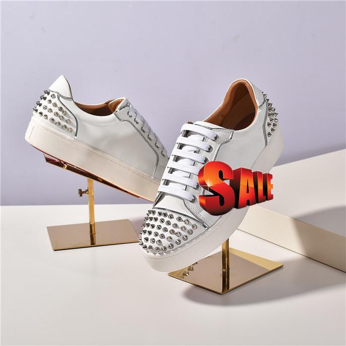 Ultimo NUOVO Spike Krystal Calzino Donna piatto 30 mm Altezza Bianco Neve Black Mat Versione Argento Loubi Sneakers
