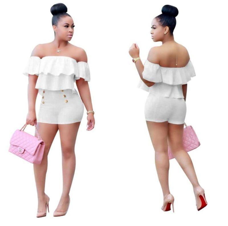 Frauen 2PCS Sets Sommer High Waist Shorts beiläufige Sets Solid Color Sexy Damen Kleidung Plissee Rüschen Hülsen-Frauen
