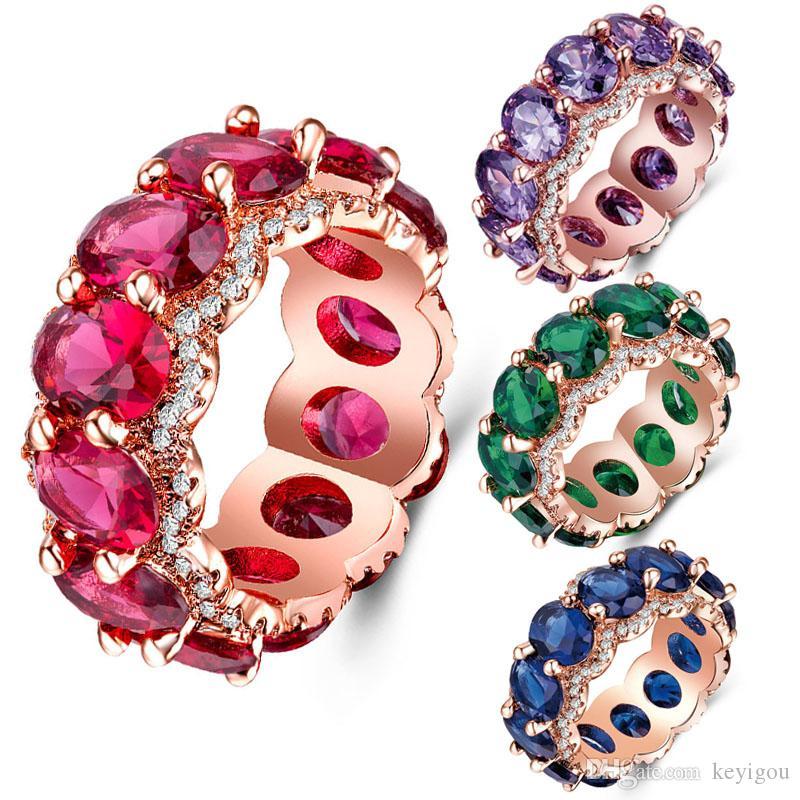 Zirconi in oro rosa CZ di colore viola Blu Rosso anelli di cristallo verde per i monili ragazze regalo delle donne