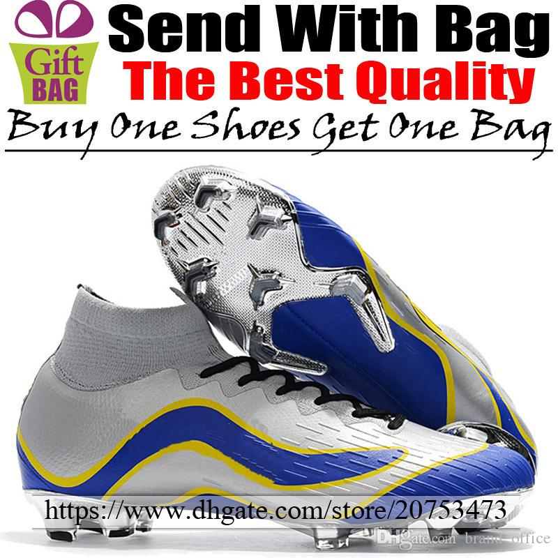 Mens Soccer Shoes New Mercurial Superfly VI FG Football Cleats Socks High Ankle Soccer Boots 1998 World Cup Silver Blue Yellow Size 6.5-12