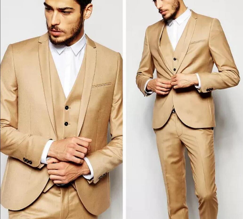 Khaki do casamento do noivo smoking para Prom Terno bonito Slim Fit Mens Suits 3 peça ternos feitos sob encomenda formal (Jacket + calça + Vest) TD665