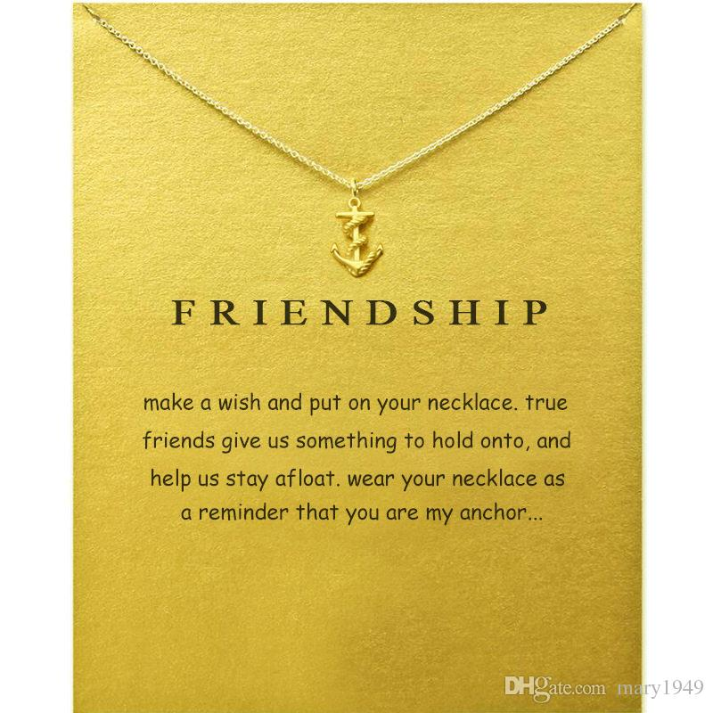 Collana con pendenti di ancoraggio per amicizia con ciondolo in lega di colori argento dorato con catena con 20 pollici di gioielli di moda a catena
