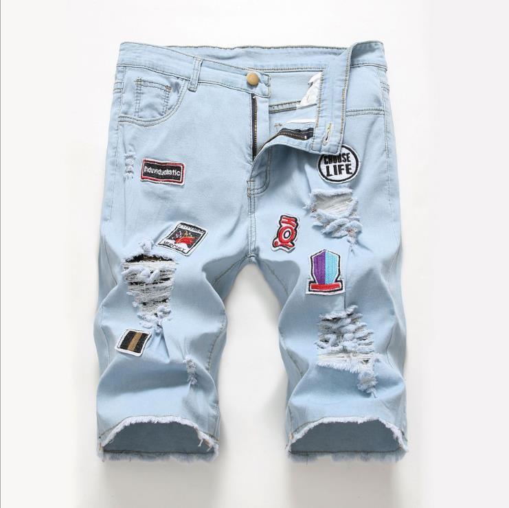 Toptan Patlama Fermuar Jeans Erkek Trend Diz Delik Fermuar Küçük Ayak Delik Patlama Erkekler Motosiklet Pantolon