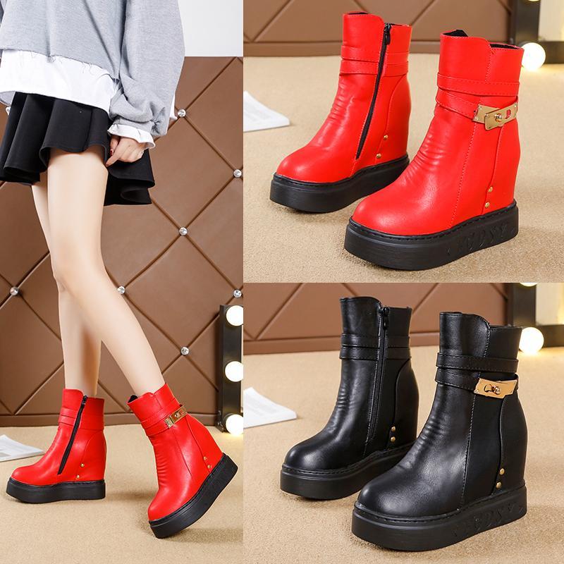 2019 semelles épaisses bottes à l'intérieur chaussures femme Intensifier nouveau dong qiu hiver semble bottes de farceur ajoute chaussures en coton ouaté