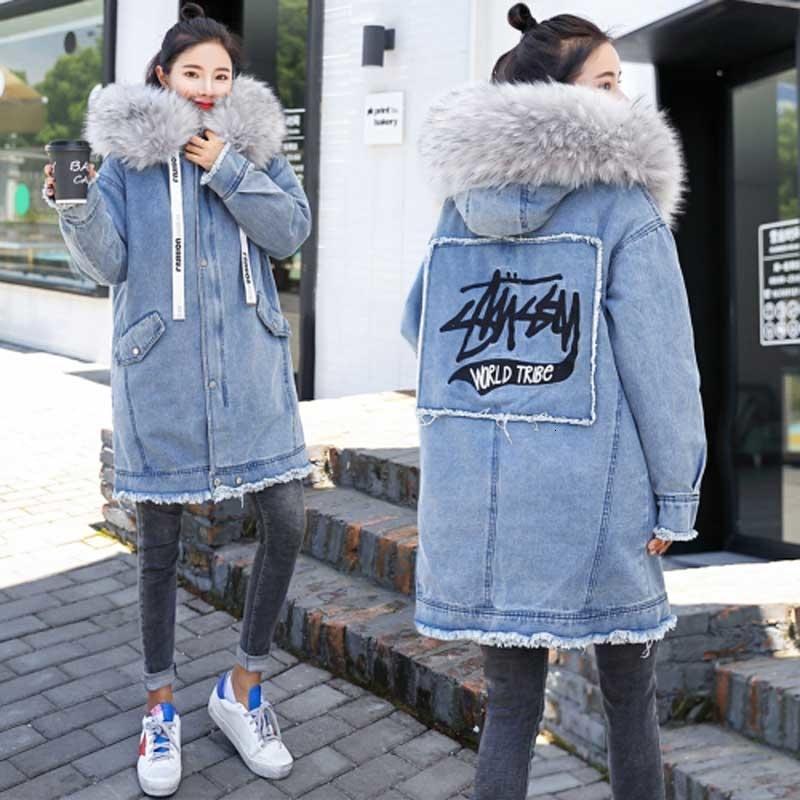 Sıcak kot ceket 2019 kış yeni işlemeli uzun kapüşonlu kot ceket kadın Kore düz büyük kürk yakalı kalın kadın ceket DT191028