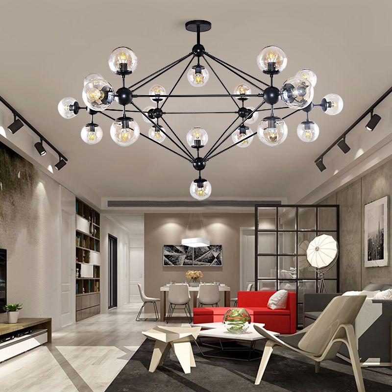 Modern LED Ceiling Chandelier Lighting Living Room Bedroom Glass Shade Globe Lamp Chandeliers Creative Home Lighting Fixtures