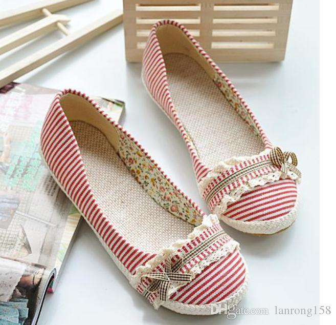 2019 Striped cloth Women's shoes in Spring and Autumn with New style flat bottom bowknot