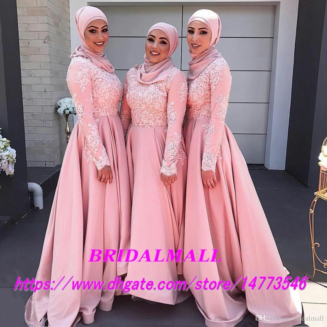 Dentelle rose Approbée Arabe demoiselle d'honneur Robes à manches longues Haute cou de mariage Robe de mariée Homme Honore Robe avec une robe de fête officielle Hijab
