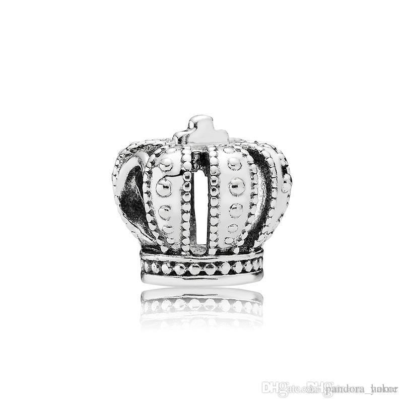 Classical 925 Sterling Silver Crown Charm Set Original Box for Pandora DIY Bracelet European Beads Charms solutions